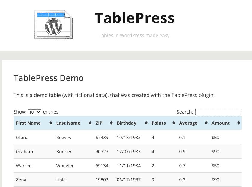 Tabellen in einer WordPress-Seite einfügen