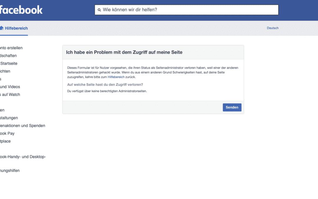 Facebook – Seitenzugriff verloren
