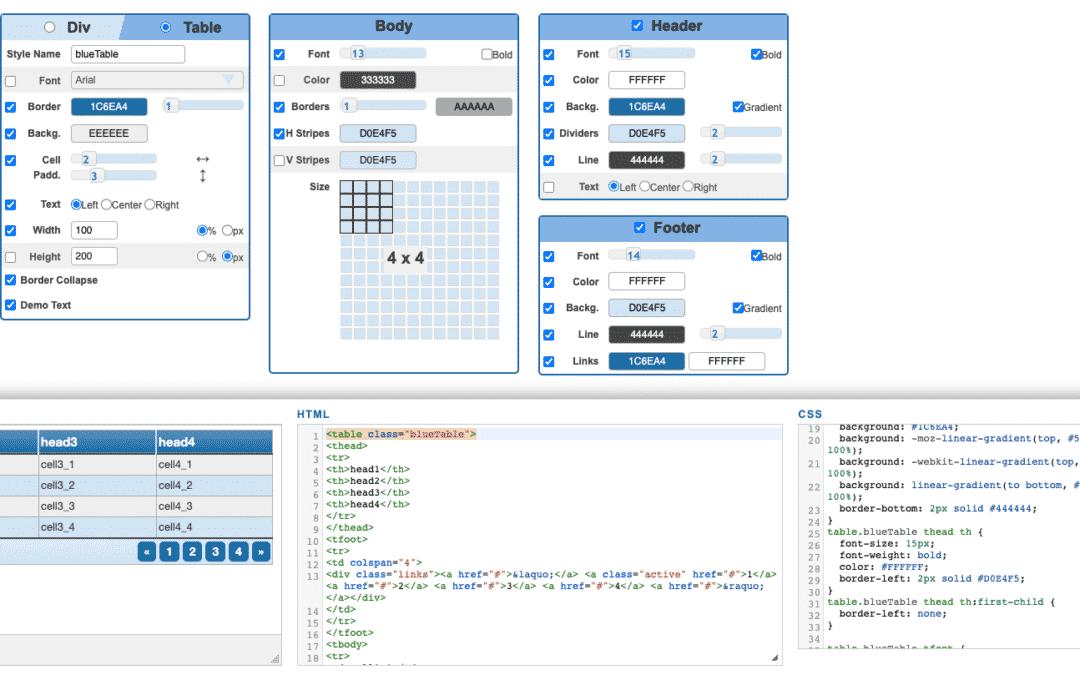 HTML Tabelle online formatieren