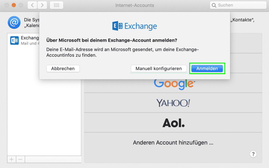 Office 365 E-Mail (Exchange online) in Apple Mail einrichten