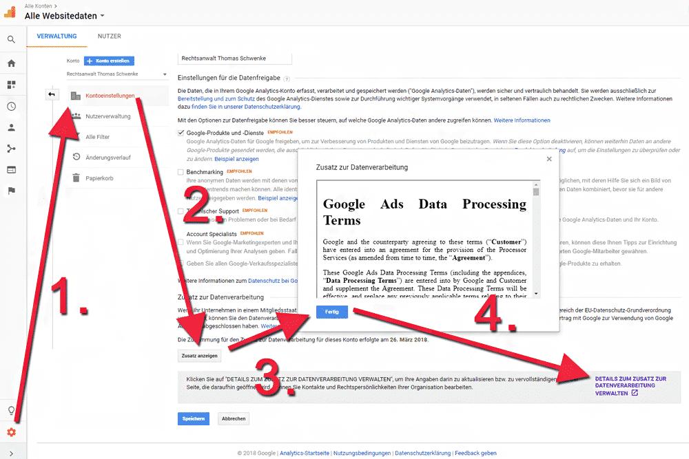 Google Analytics – Datenschutz-Vertrag mit Google abschließen