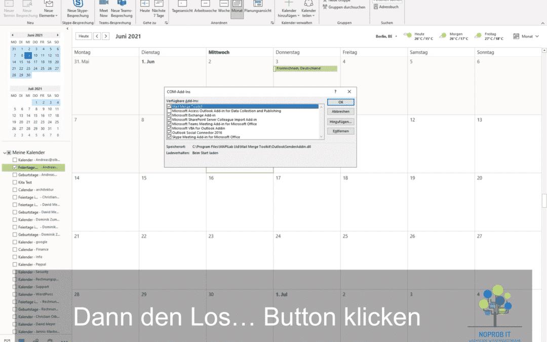Outlook Add-Ins deaktivieren oder aktivieren